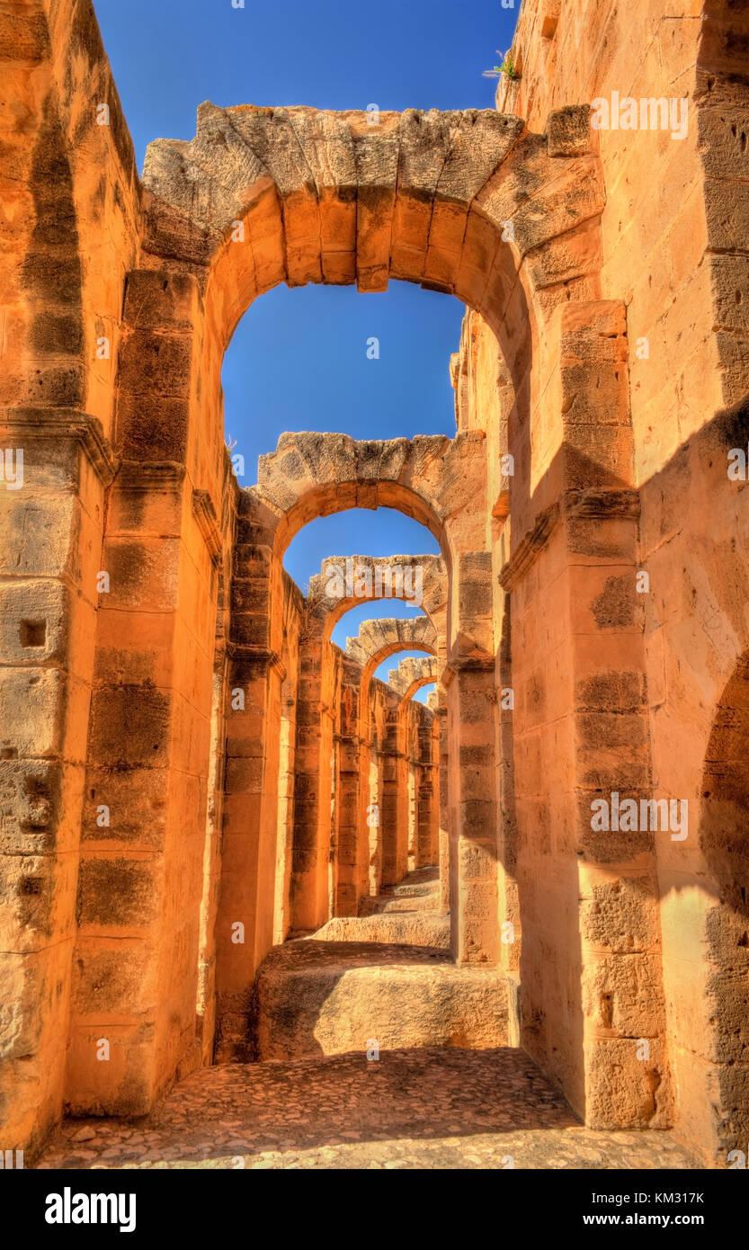 Amphitheatre of El Jem, a UNESCO world heritage site in Tunisia - Stock Image