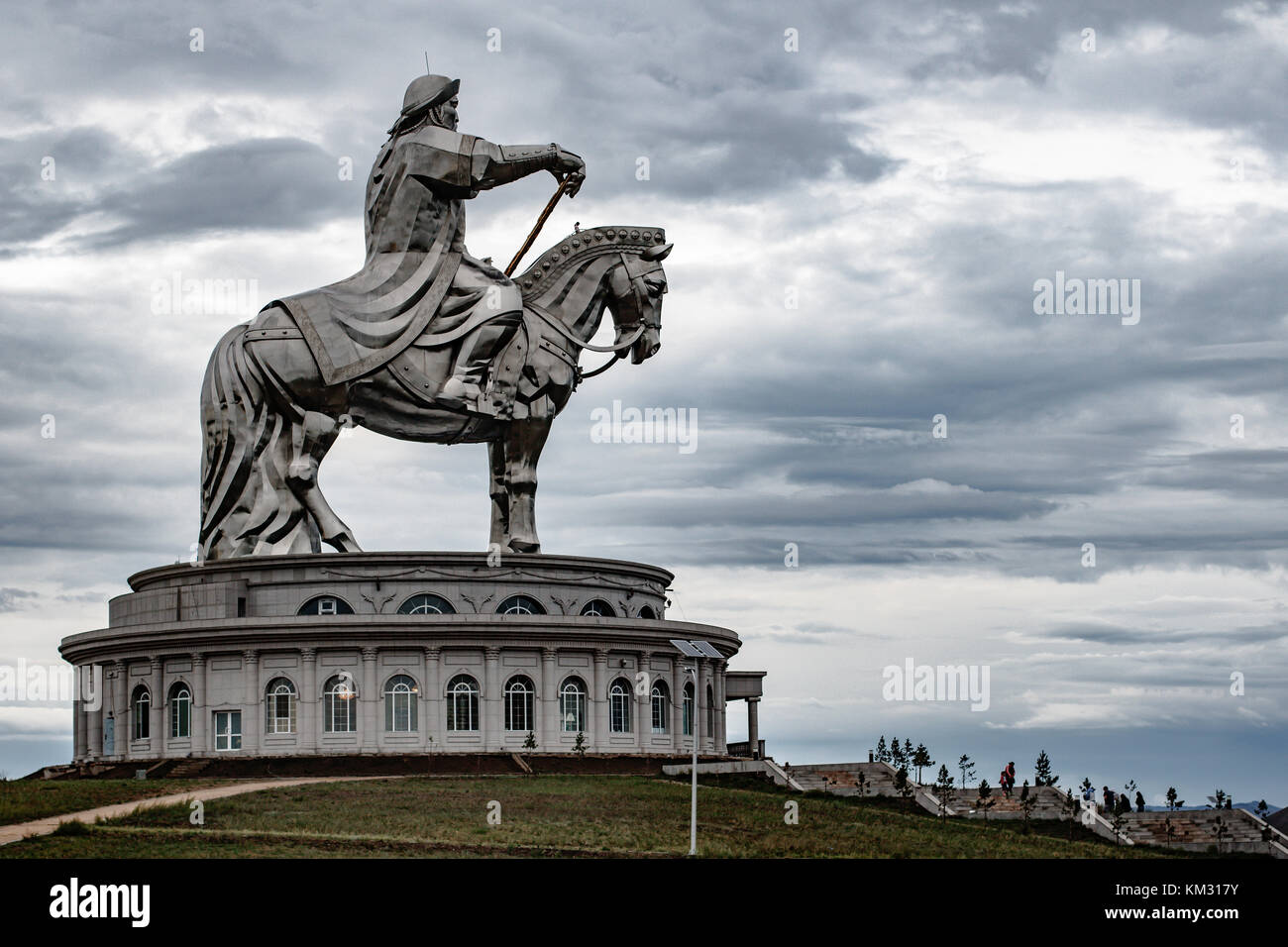 Giant Genghis Khan Equestrian Statue in Ulaanbaatar, Mongolia Stock Photo