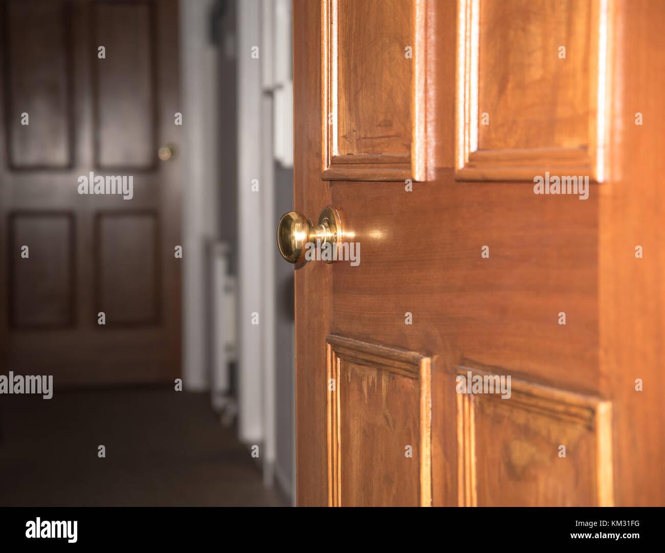 Entrance Door Knob   Wooden House Door   Stock Image