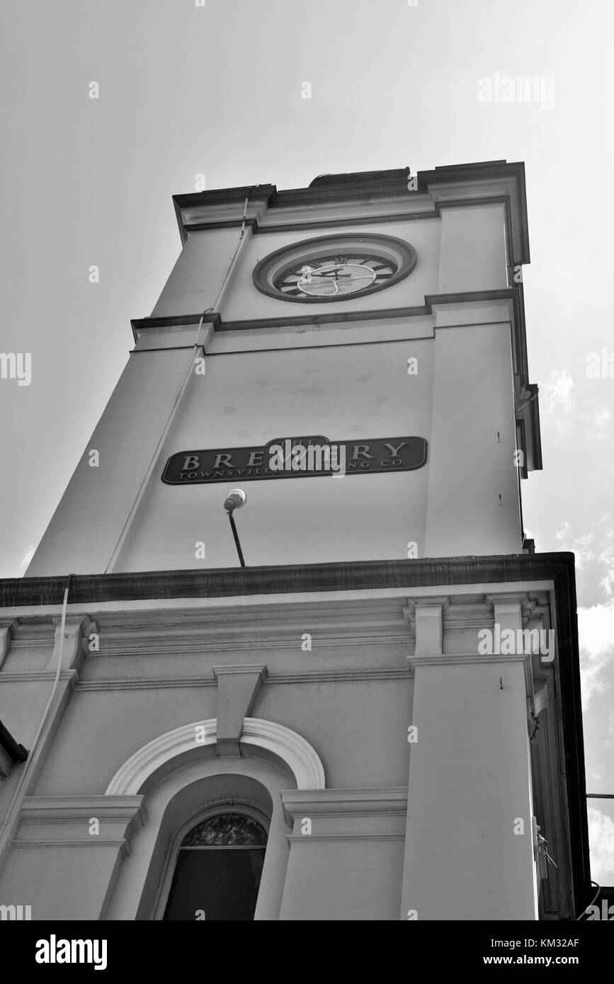 The Brewery clock tower in what was formerly the Townsville Post office, Flinders St, Townsville, Queensland, Australia - Stock Image
