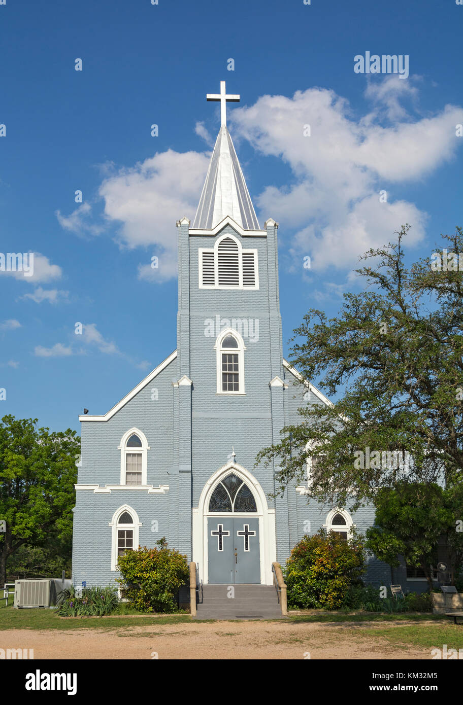 Texas, Stonewall, LBJ State Park and Historic Site, Trinity Lutheran Church, erected 1928 Stock Photo