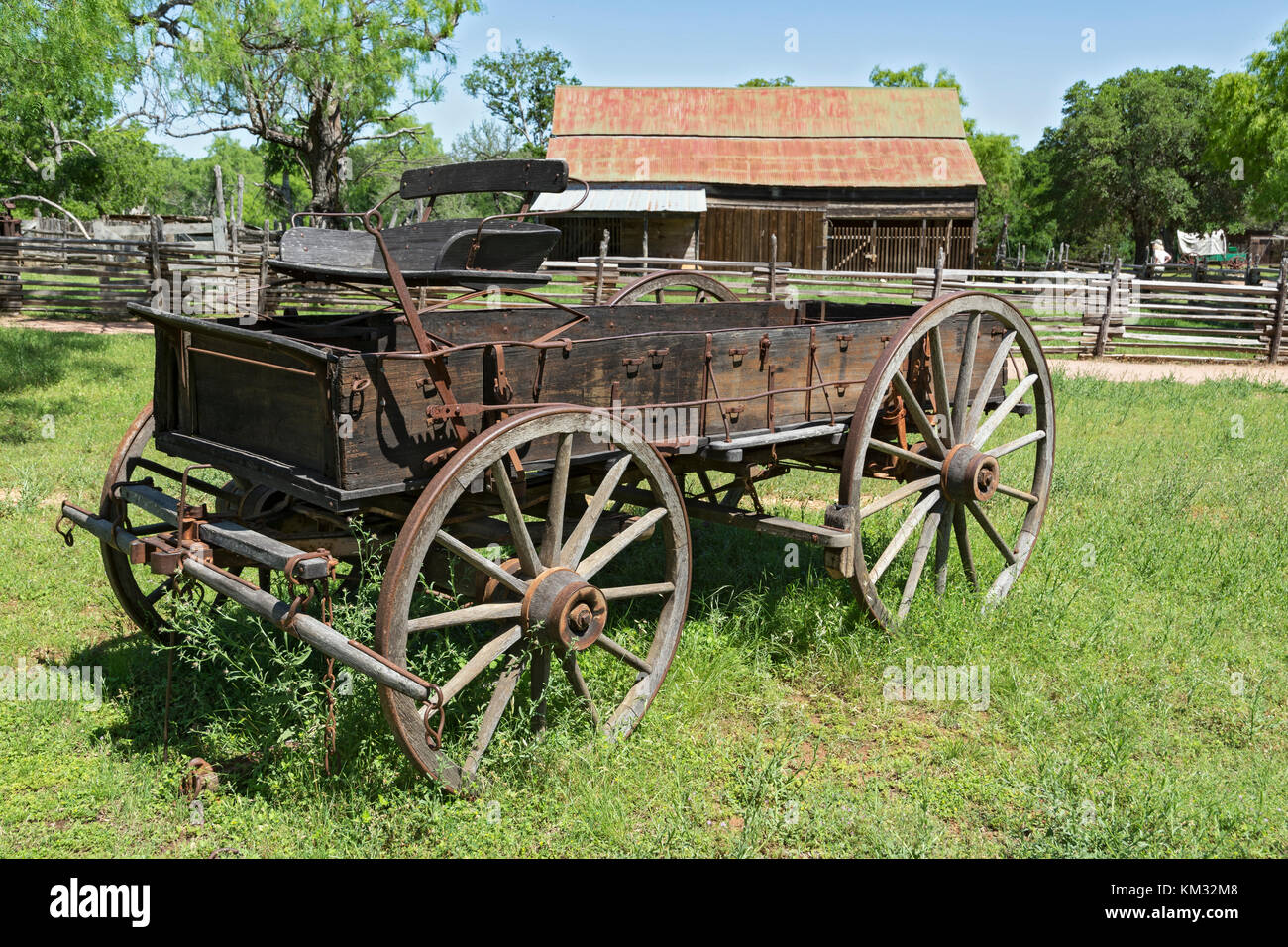 Texas, Stonewall, LBJ State Park and Historic Site, Sauer-Beckmann, Living History Farm, circa 1915-1918, wooden - Stock Image
