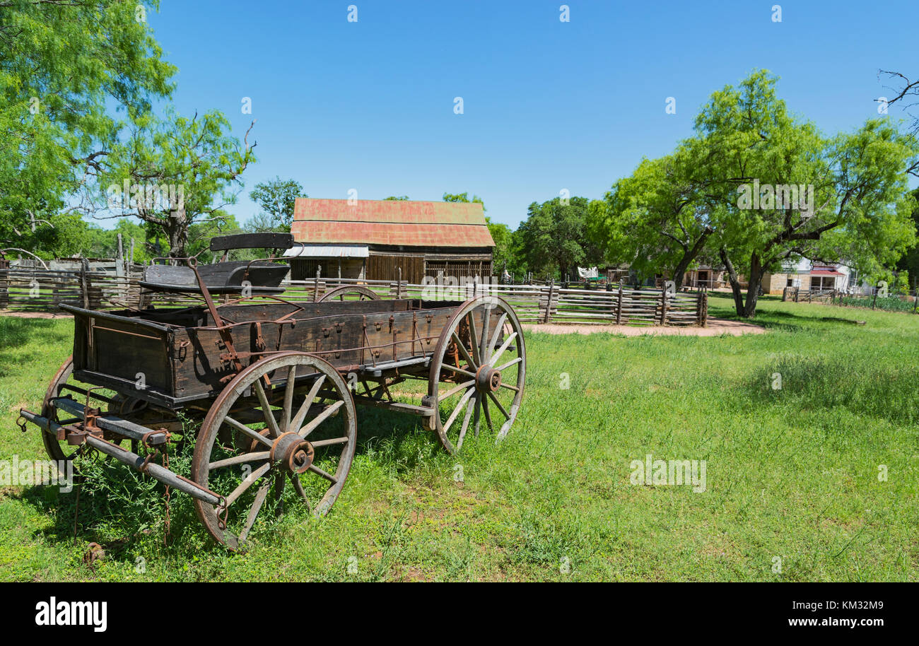 Texas, Stonewall, LBJ State Park and Historic Site, Sauer-Beckmann, Living History Farm, circa 1915-1918, wooden Stock Photo