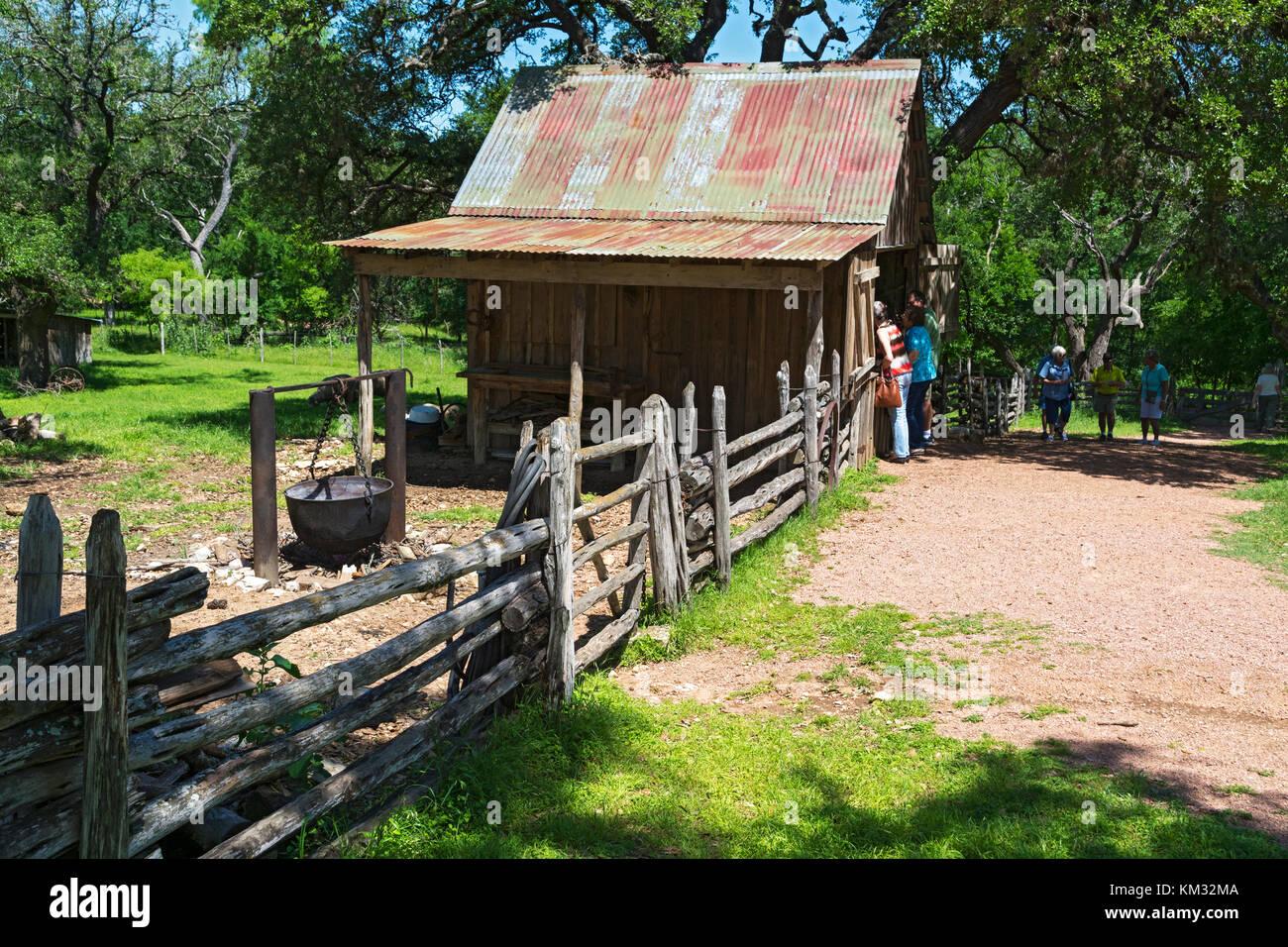 Texas, Stonewall, LBJ State Park and Historic Site, Sauer-Beckmann, Living History Farm, circa 1915-1918, barn - Stock Image