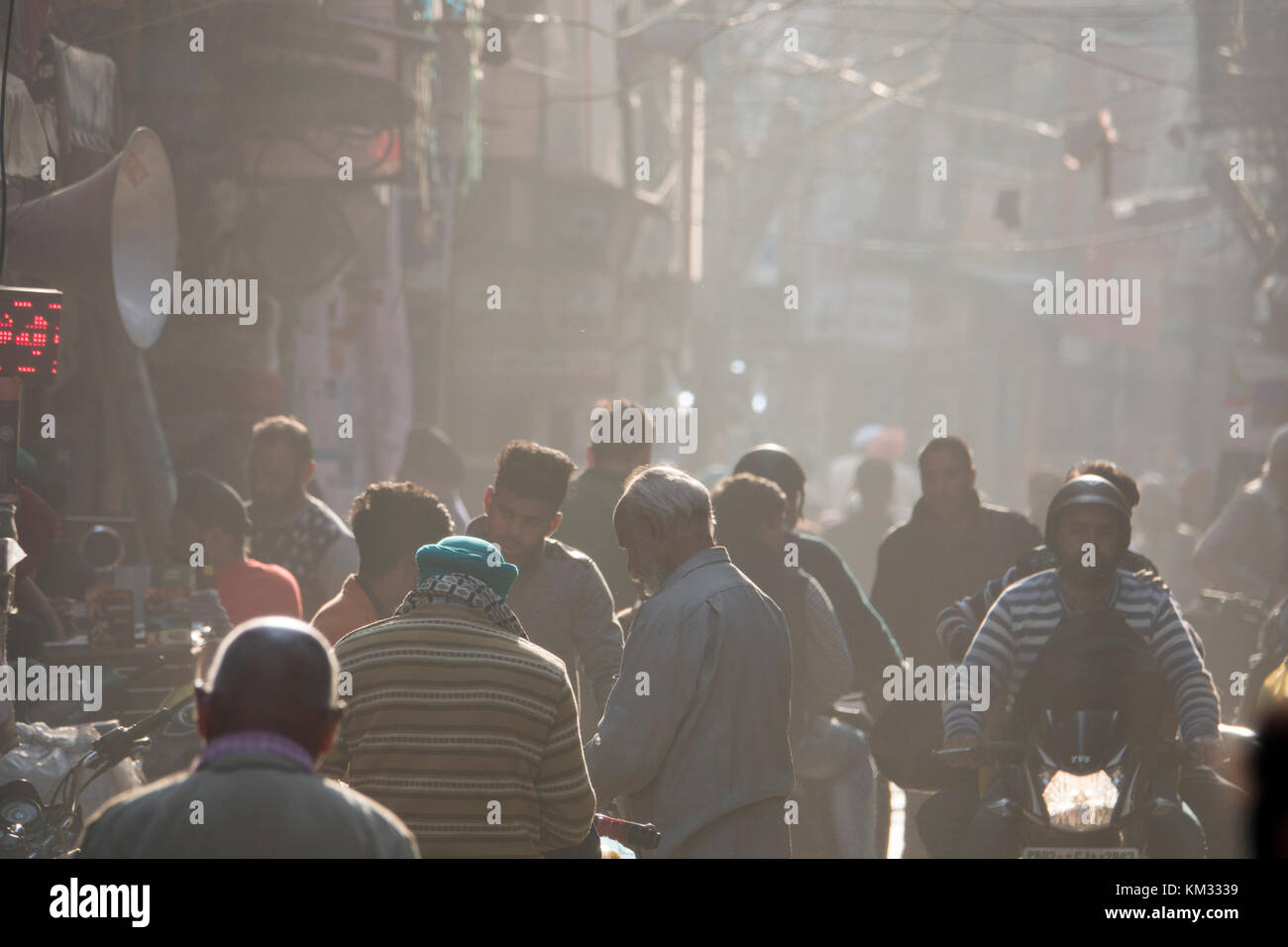 Busy street of pedestrians in Amritsar,Punjab - Stock Image