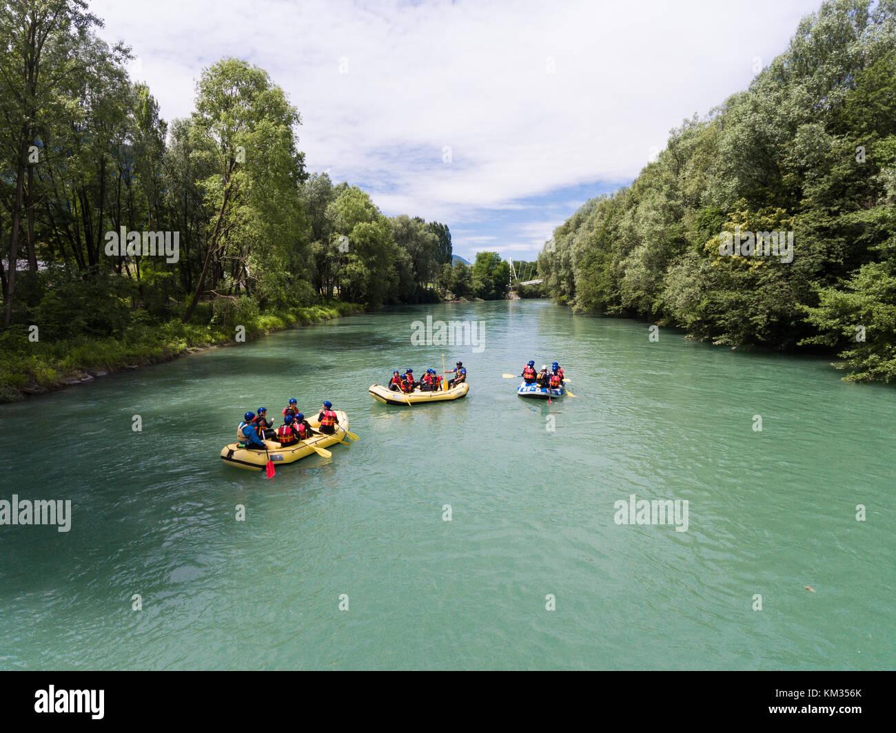 Rafting on Adda river in Valtellina Stock Photo