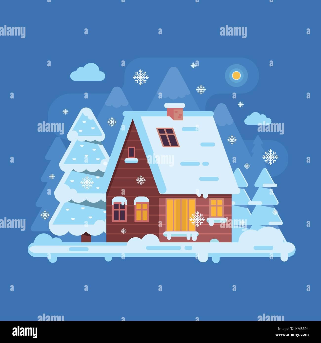 Winter Mountain Log Cabin - Stock Vector