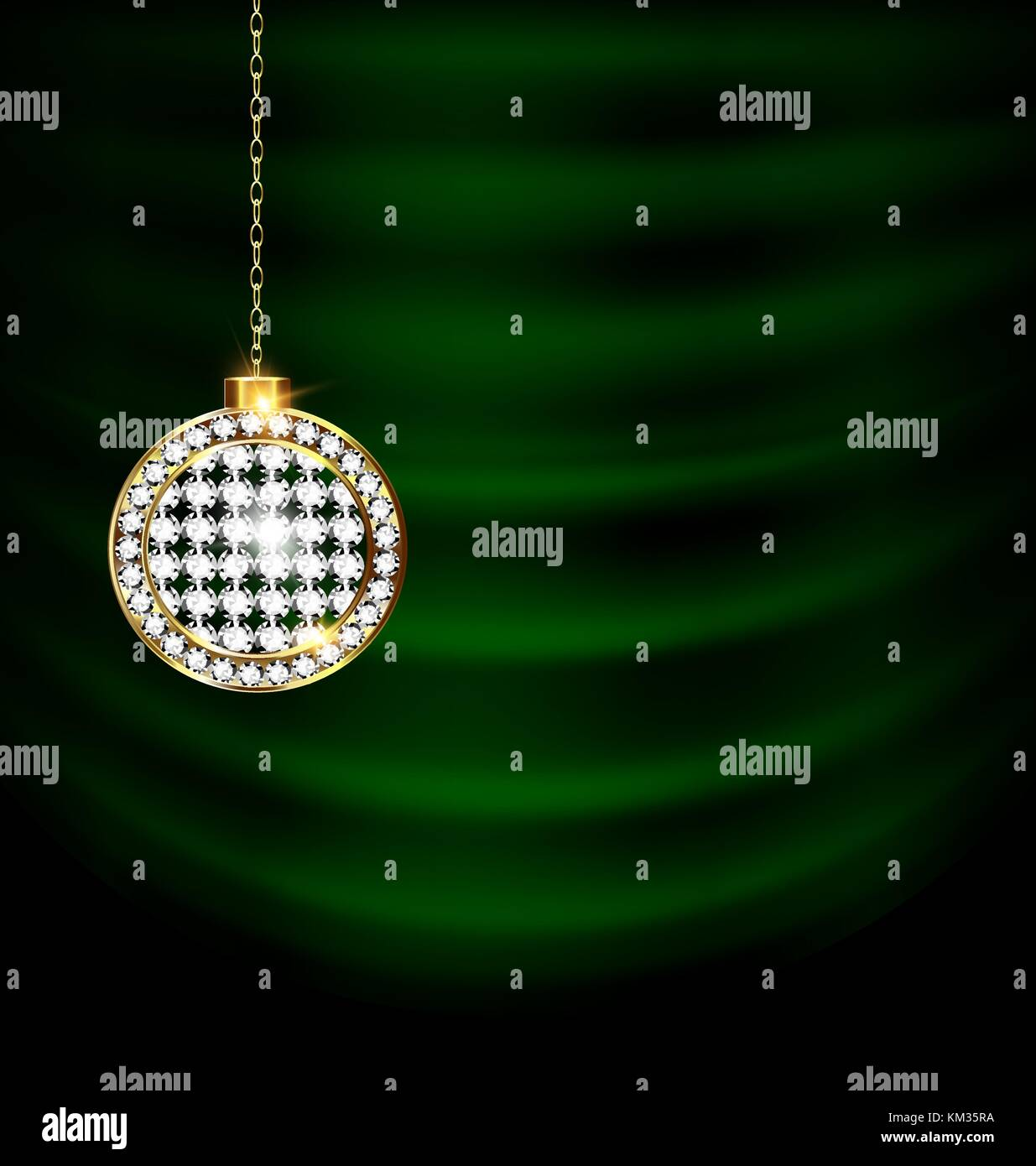 green drape with jewelry Christmas ball - Stock Vector