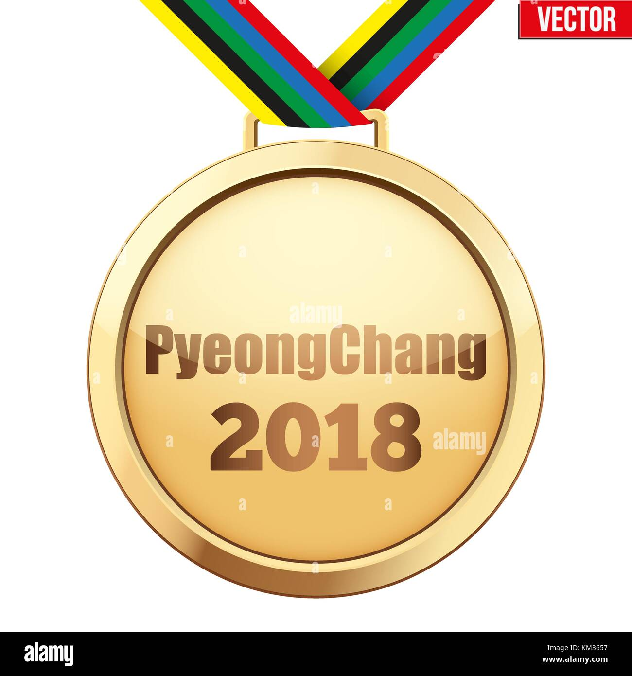 Gold medal with text PyeongChang 2018 - Stock Vector
