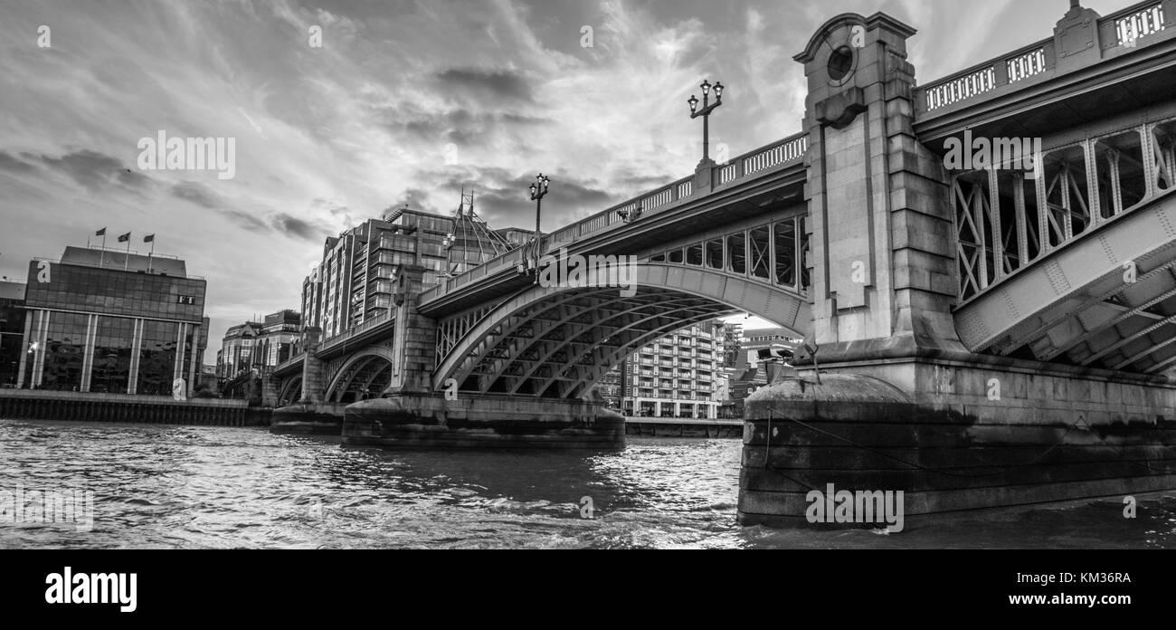 LONDON, UK - October 17th, 2017: London Southwark bridge in Thames river UK. - Stock Image