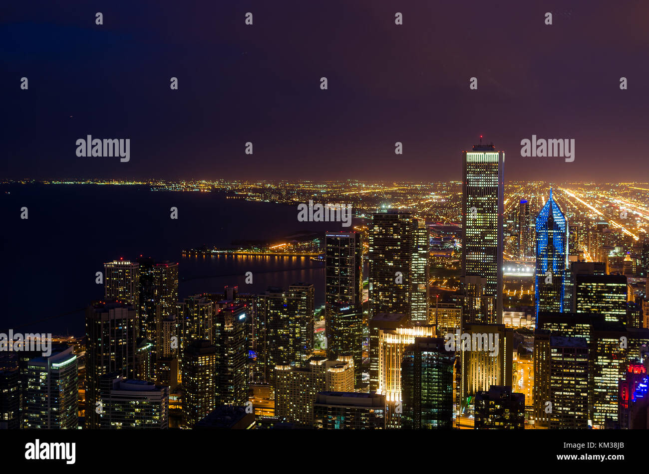 Night view of chicago skyline from willis tower - Stock Image