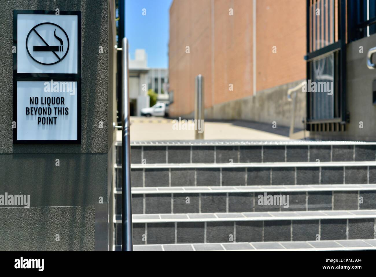 No smoking and no Liquor beyond this point signs, City Lane and City Arcade, Townsville, Queensland, Australia - Stock Image