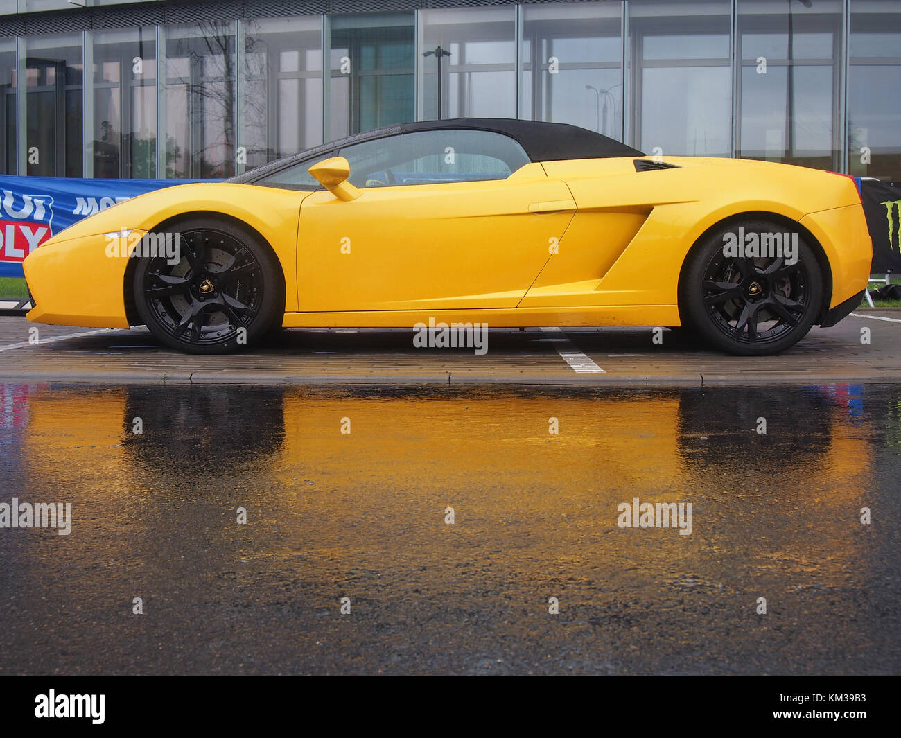 VILNIUS LITHUANIA-AUGUST 20 2017 Yellow Lamborghini Gallardo Spyder in the rain & Yellow Lamborghini Gallardo Stock Photos u0026 Yellow Lamborghini ...
