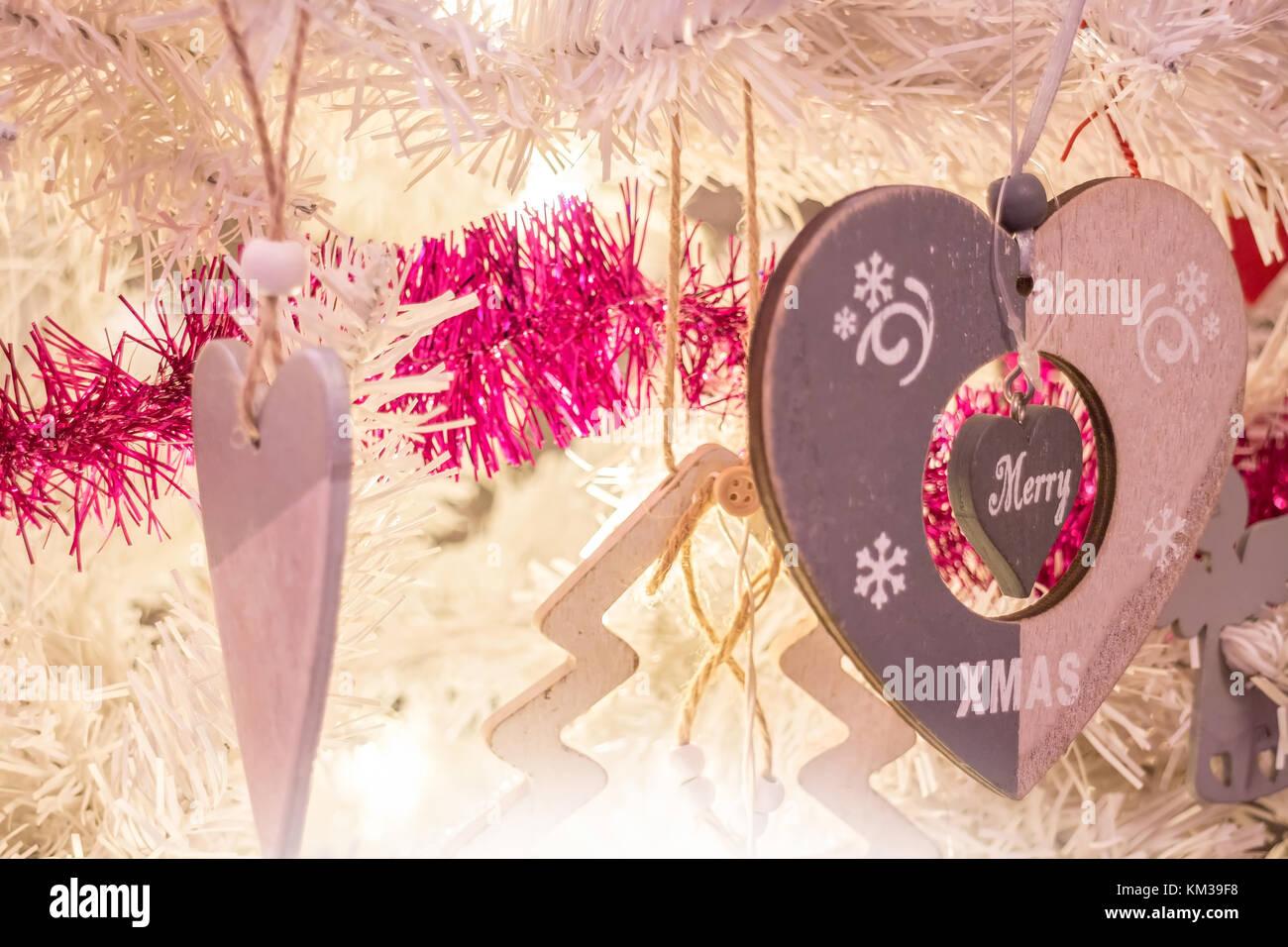 Christmas Tinsel Garland Heart Shape Stock Photos