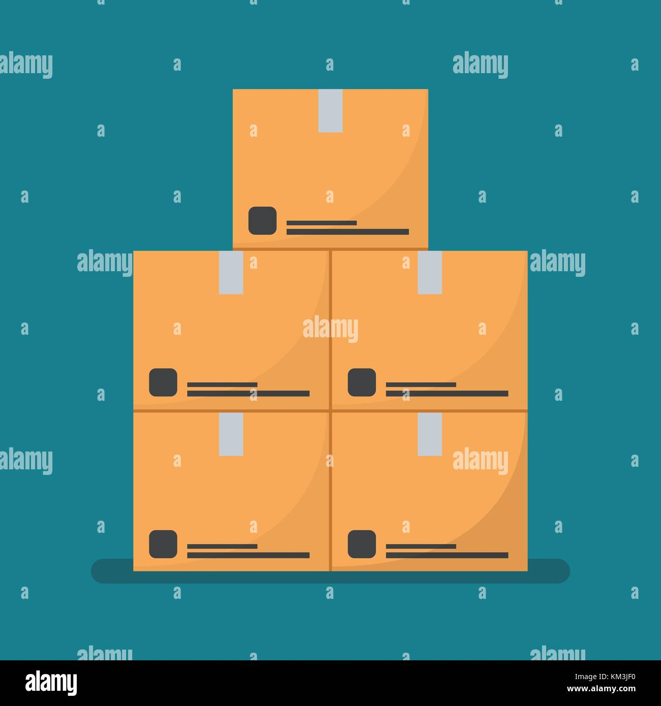 Flat style Cardboard boxes. Vector Illustration - Stock Vector