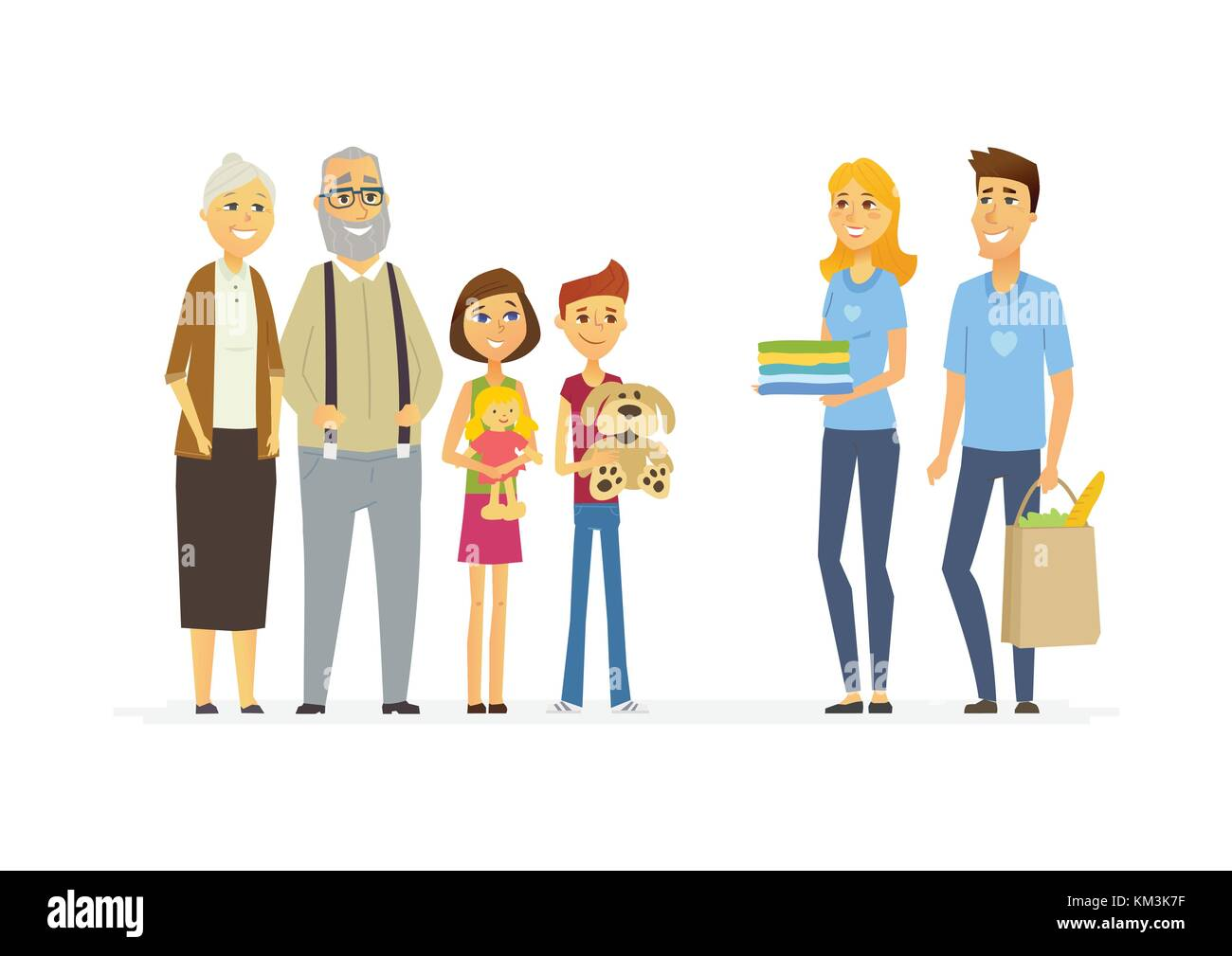 Volunteers help children and seniors - cartoon people characters isolated illustration on white background. Two - Stock Vector