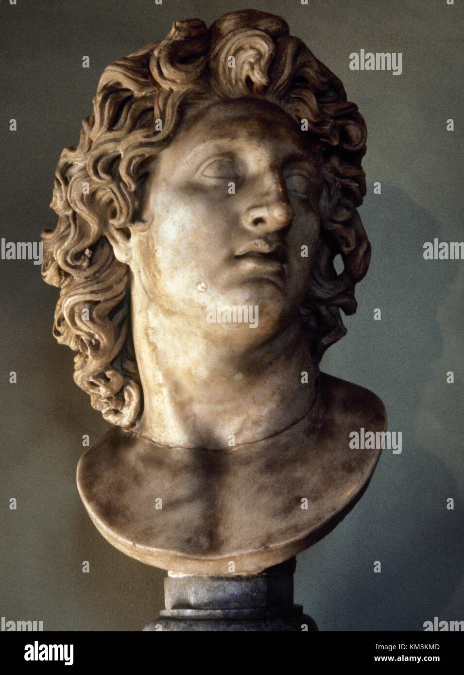 Alexander the Great (356-323 BC). King of Madedon. Bust of Alexander as the god Helios. Copy of original by Chares - Stock Image