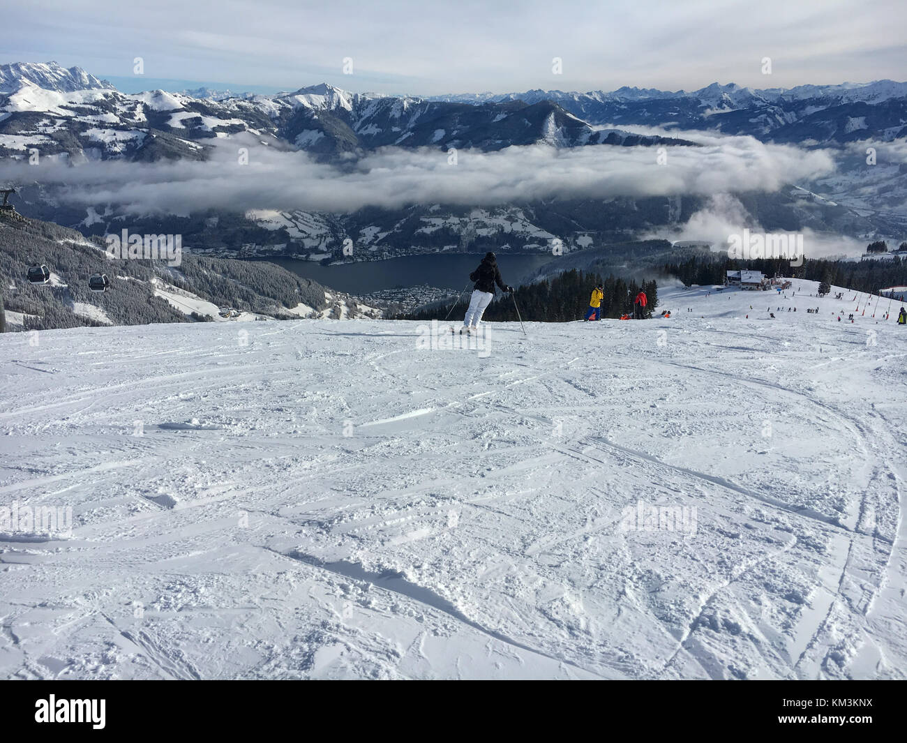 Panoramic view at mountains and ski run at the Austrian ski area Schmitten in the tyrolean alps Stock Photo