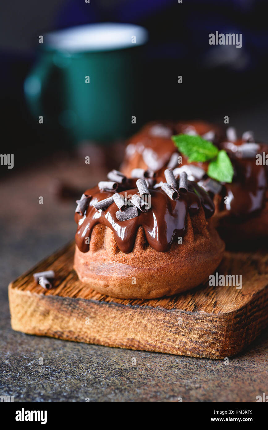 Mini chocolate bundt cake with chocolate ganache and mint leaf on wooden cutting board. Closeup view, selective - Stock Image