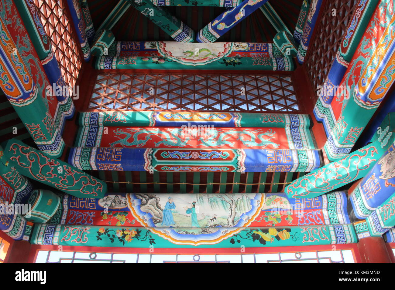 Painted decorations in Longtan Park - Beijing, China - Stock Image