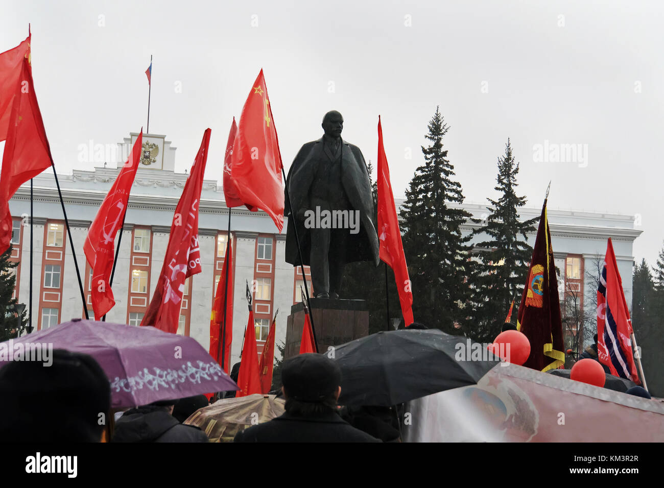 celebration of the great October revolution. The traditional demonstration on 7 November. Many people gathered at Stock Photo
