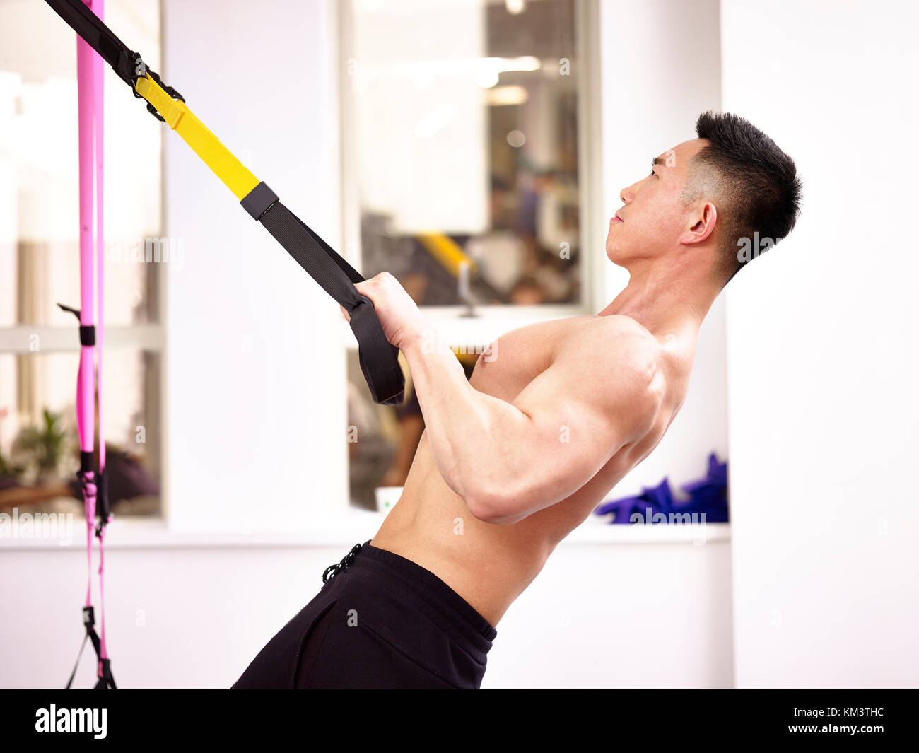 asian bodybuilder working out in gym - Stock Image
