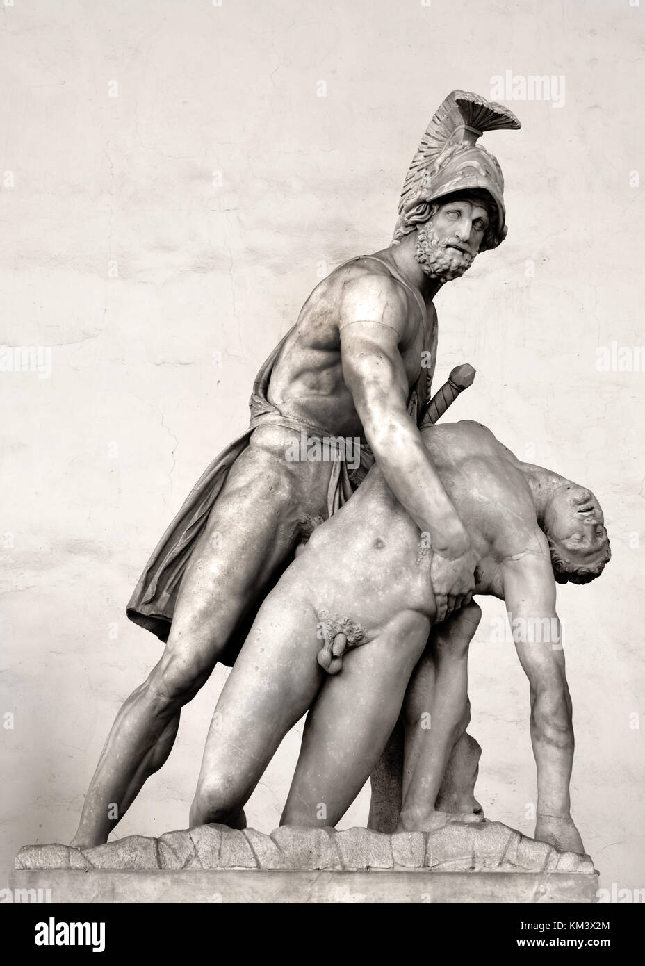 Menelaus supporting the body of Patroclus, located in The Loggia dei Lanzi, ( Loggia della Signoria ) , Piazza della - Stock Image