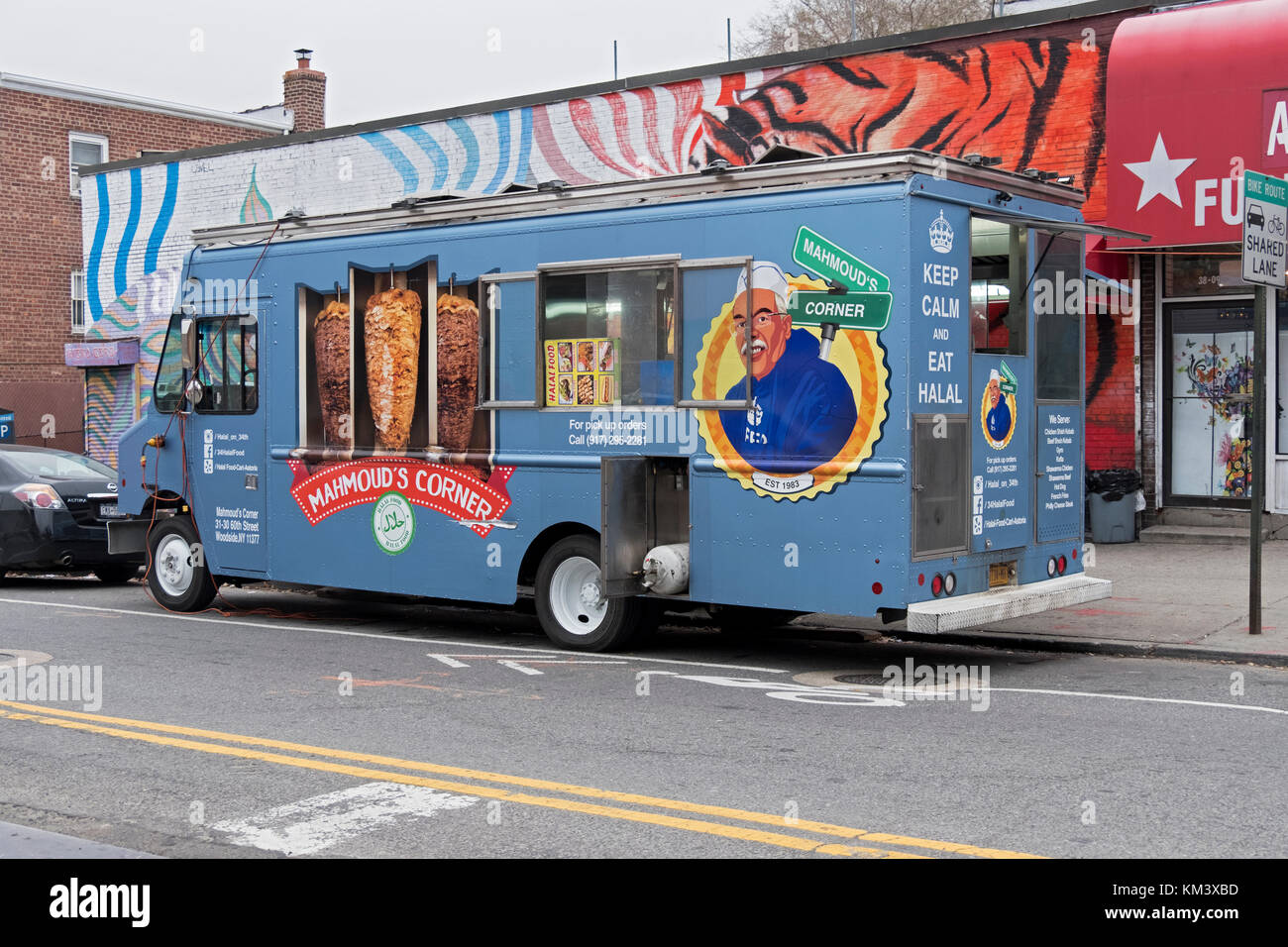 Mahmoud's Corner Halal food truck, a fixture in Astoria, Queens for many years. Parked just off Steinway Street - Stock Image