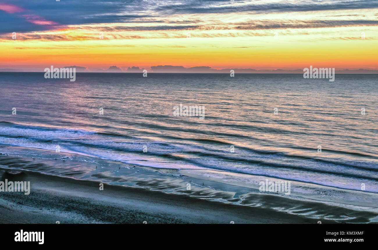 Myrtle Beach Scenic Beach Background Atlantic Ocean beach with waves, water and a scenic sunset horizon background. - Stock Image