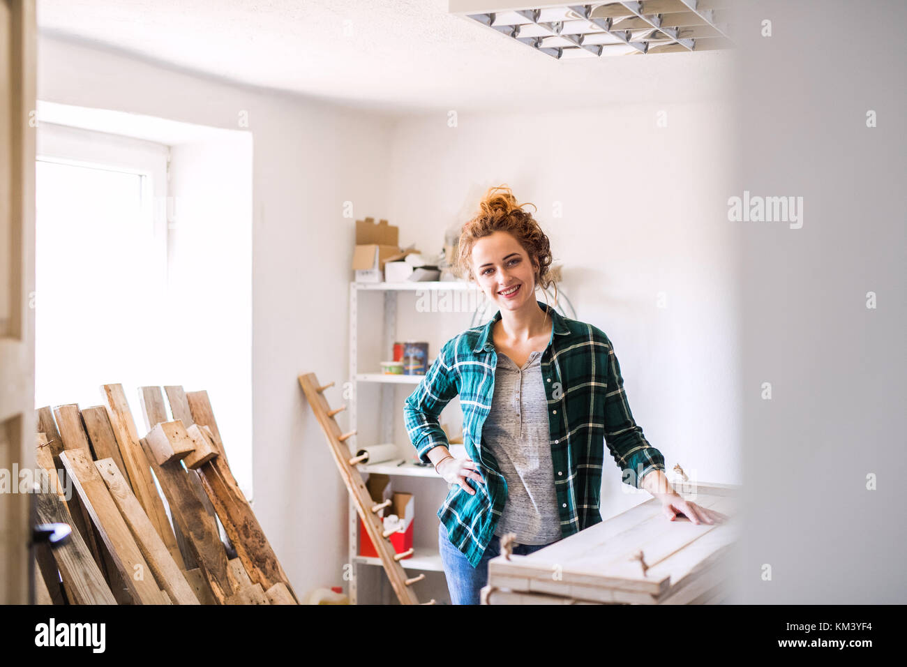 Small business of a young woman. - Stock Image