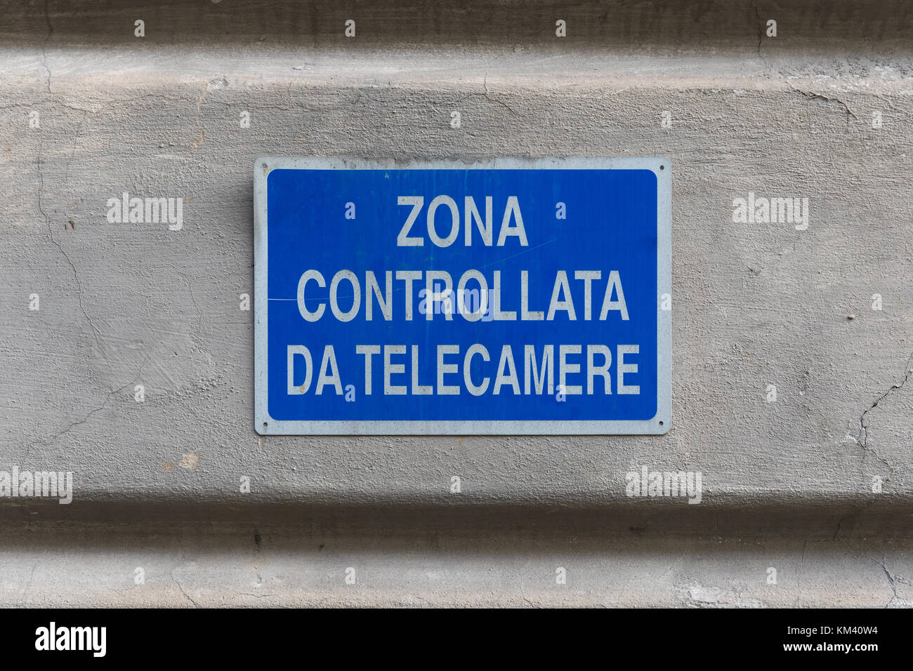 This area is under video surveillance sign in italian language Stock Photo