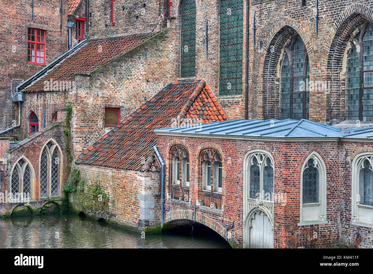 Detail of the old hospital building, people used to be able to arrive by boat via the canals Stock Photo
