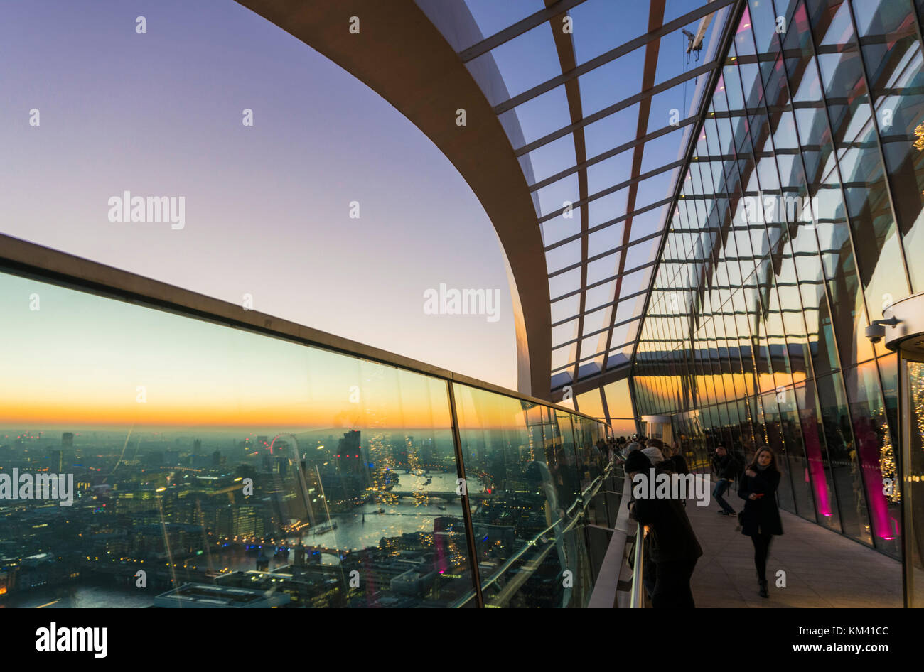 England London England city of London skyline dusk The Walkie talkie building skyscraper or 20 Fenchurch Street - Stock Image