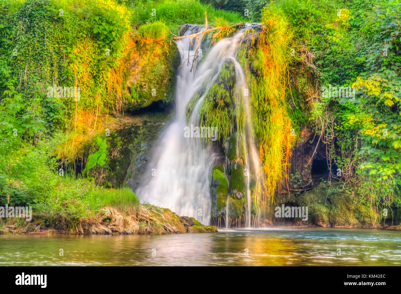 HDR longtime exposure of waterfall - Stock Image