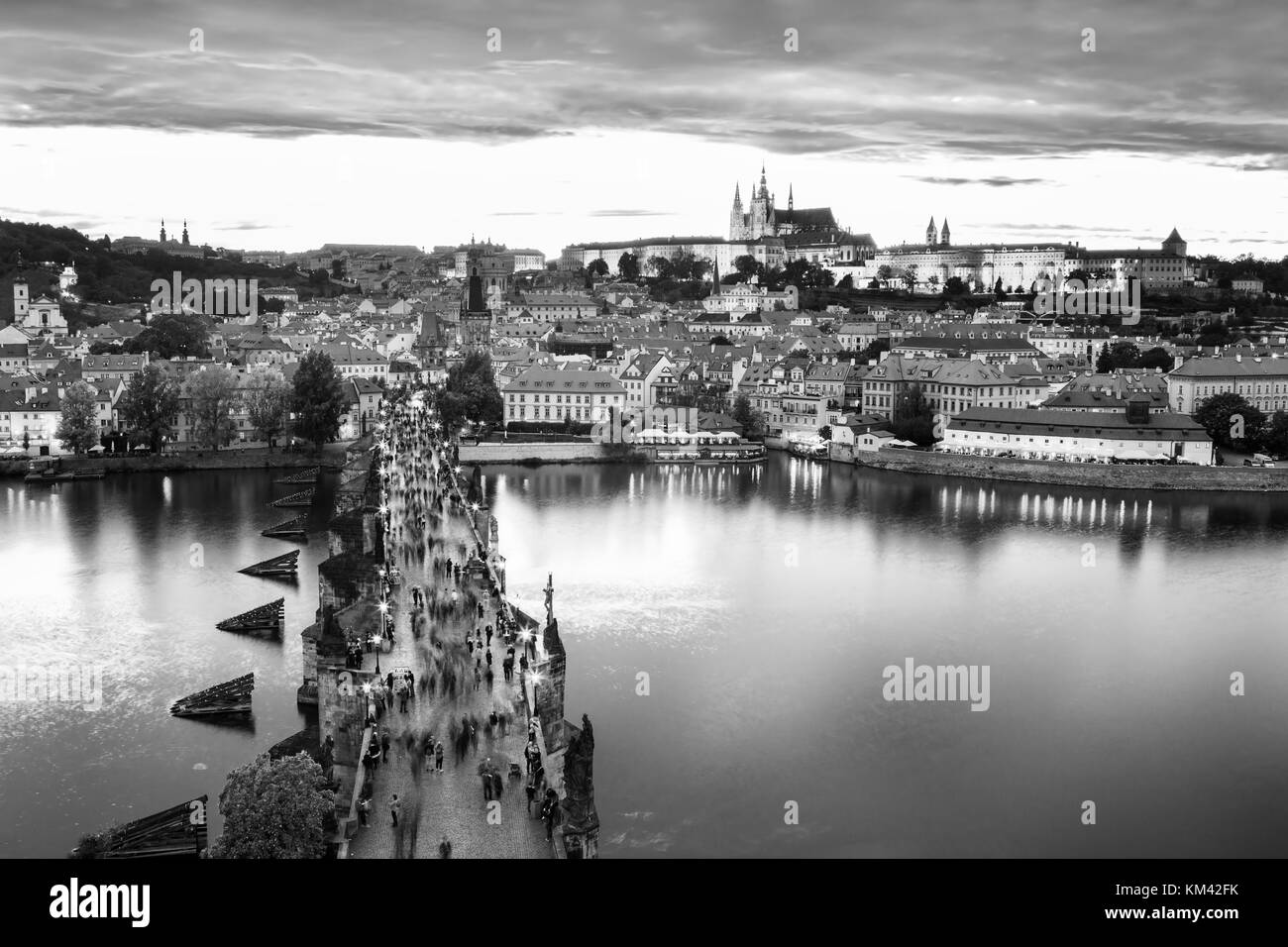Scenic view of Charles bridge on the Vltava river and historical center of Prague,buildings and landmarks of old Stock Photo