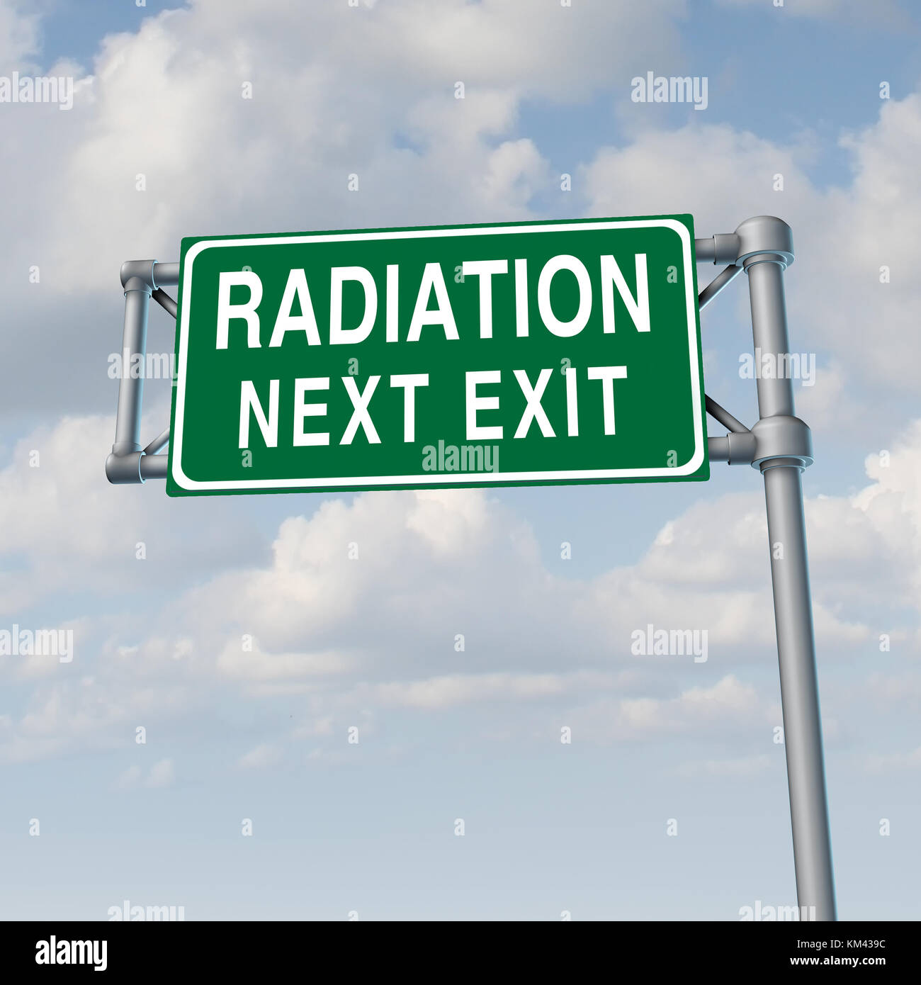 Radiation crisis concept and toxic nuclear leak warning symbol with 3D illustration elements. - Stock Image