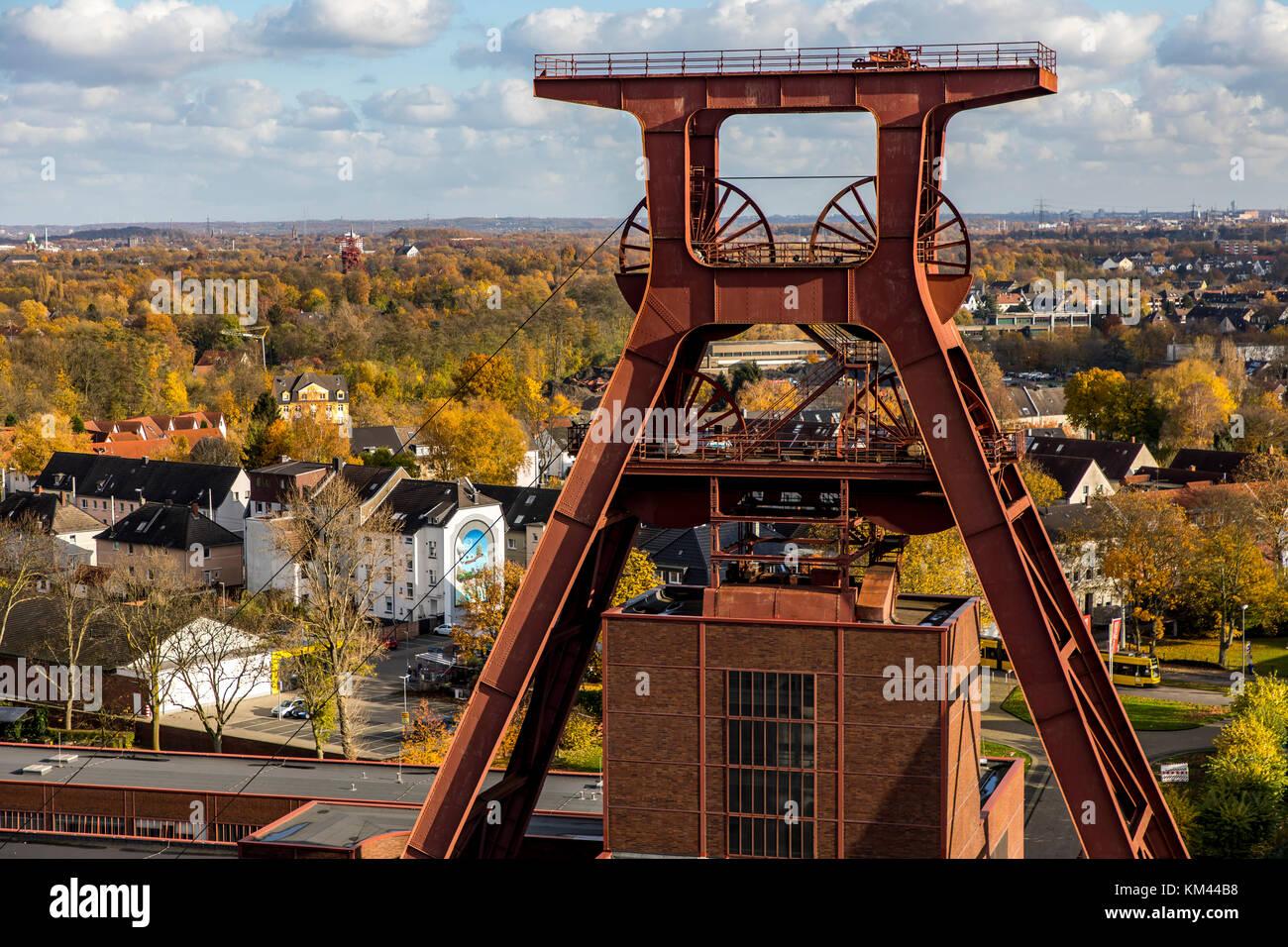 Winding tower of  Zeche Zollverein colliery in Essen, Germany, world heritage site, - Stock Image