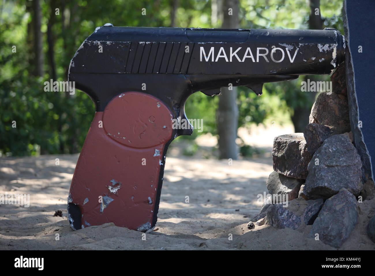 Monument Makarov pistol at the firing range - Stock Image
