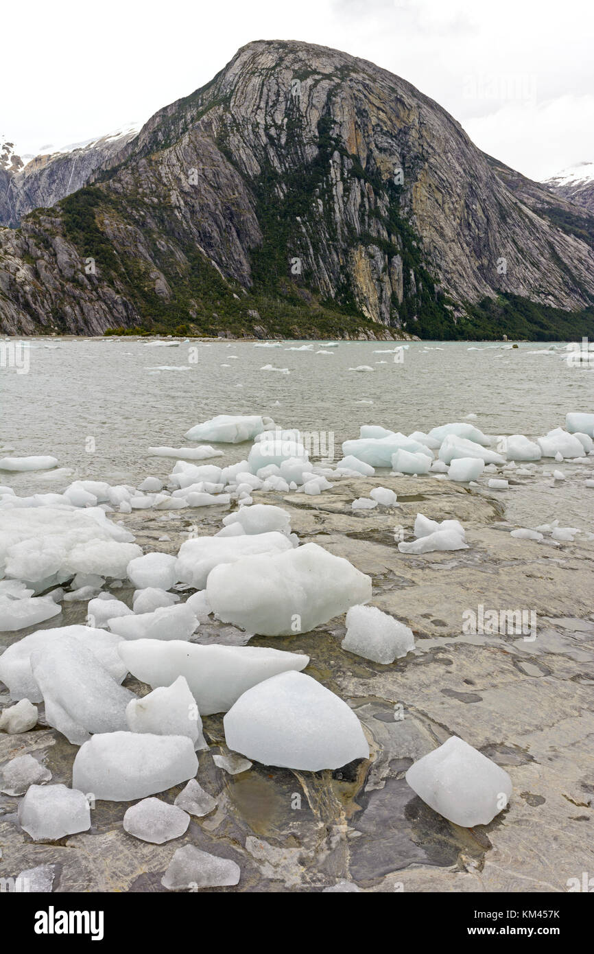 Ice Bergs on a Remote Shore near the Pia Glacier in Tierra del Fuego in Chile - Stock Image