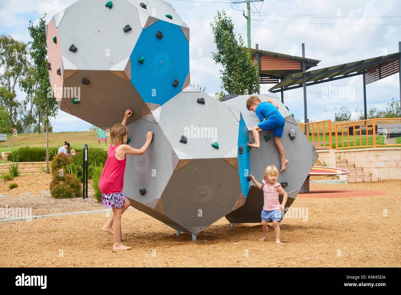 Climbing blocks at children's playground. Tamworth NSW Australia. - Stock Image