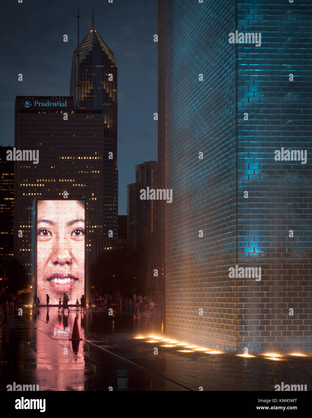 Crown Fountain, an interactive work of public art and video sculpture in Millennium Park, Chicago, as seen on a - Stock Image
