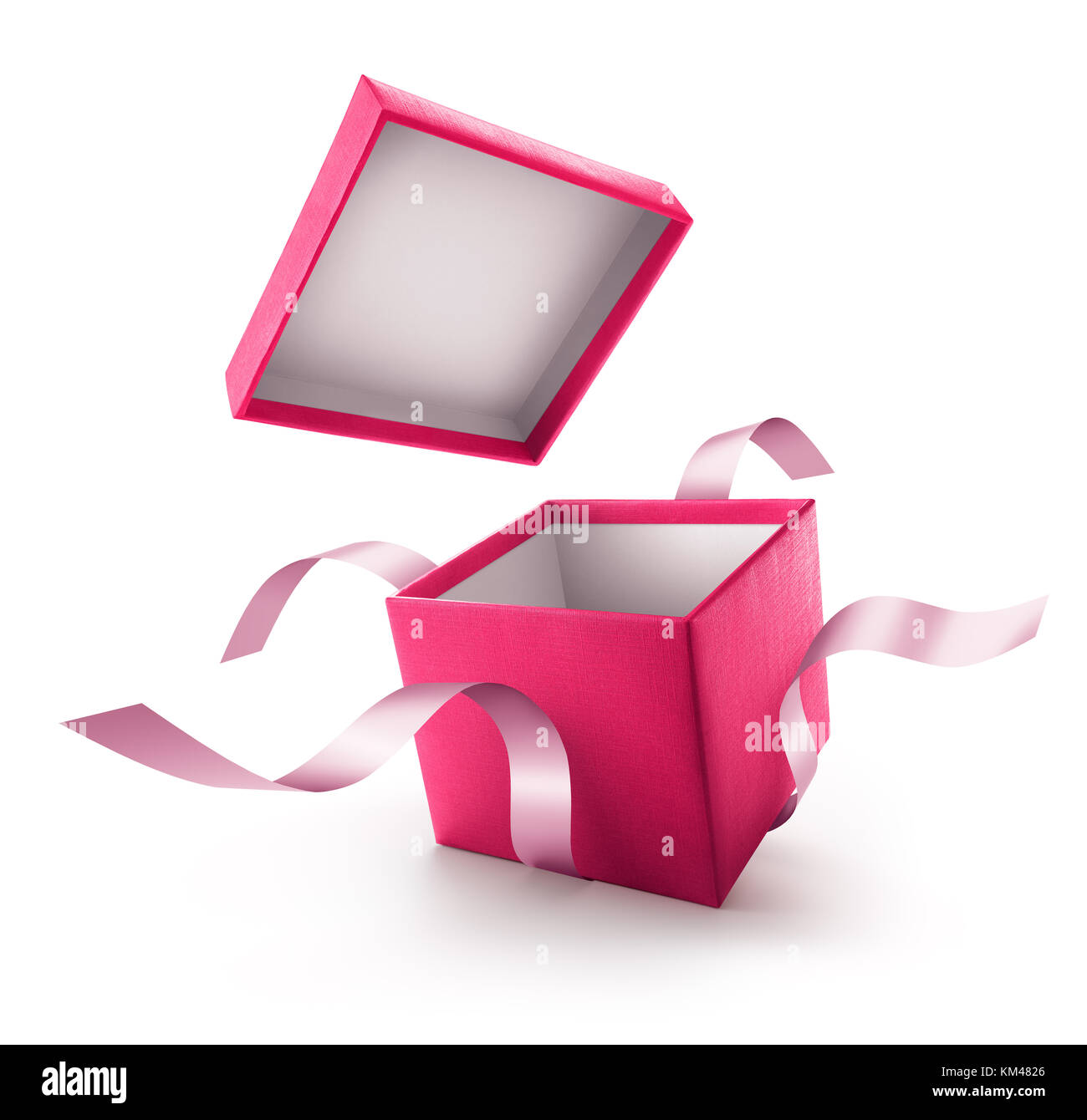 Pink open gift box with ribbon isolated on white background - Stock Image