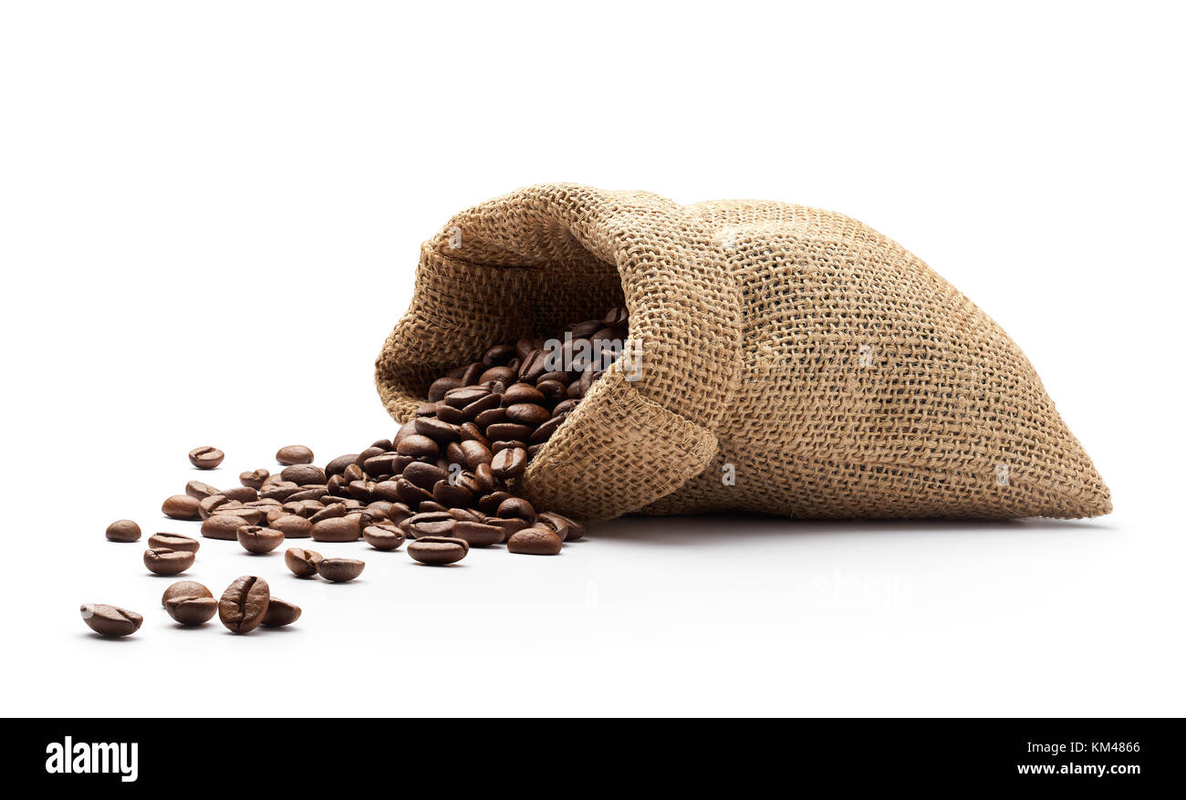 Coffee beans spilled out from burlap sack isolated on white background - Stock Image