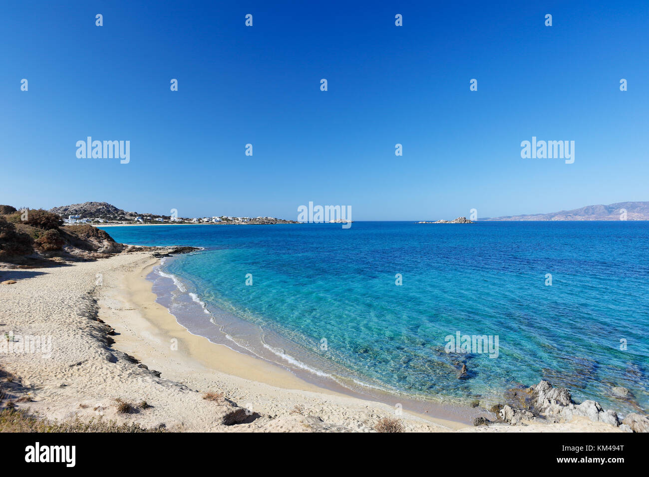 Orkos beach of Naxos island in Cyclades, Greece - Stock Image