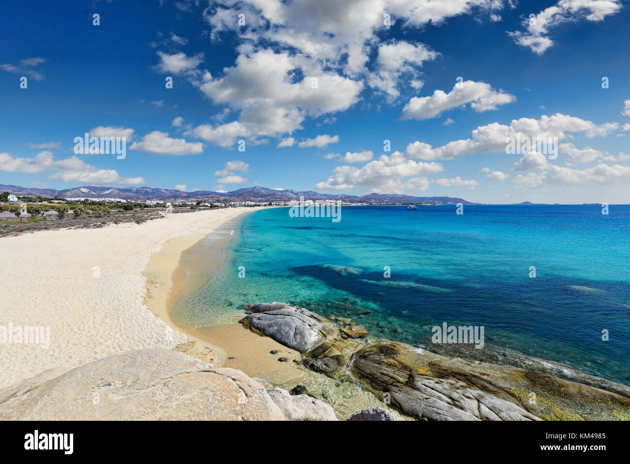 Agios Prokopios beach in Naxos island, Greece - Stock Image