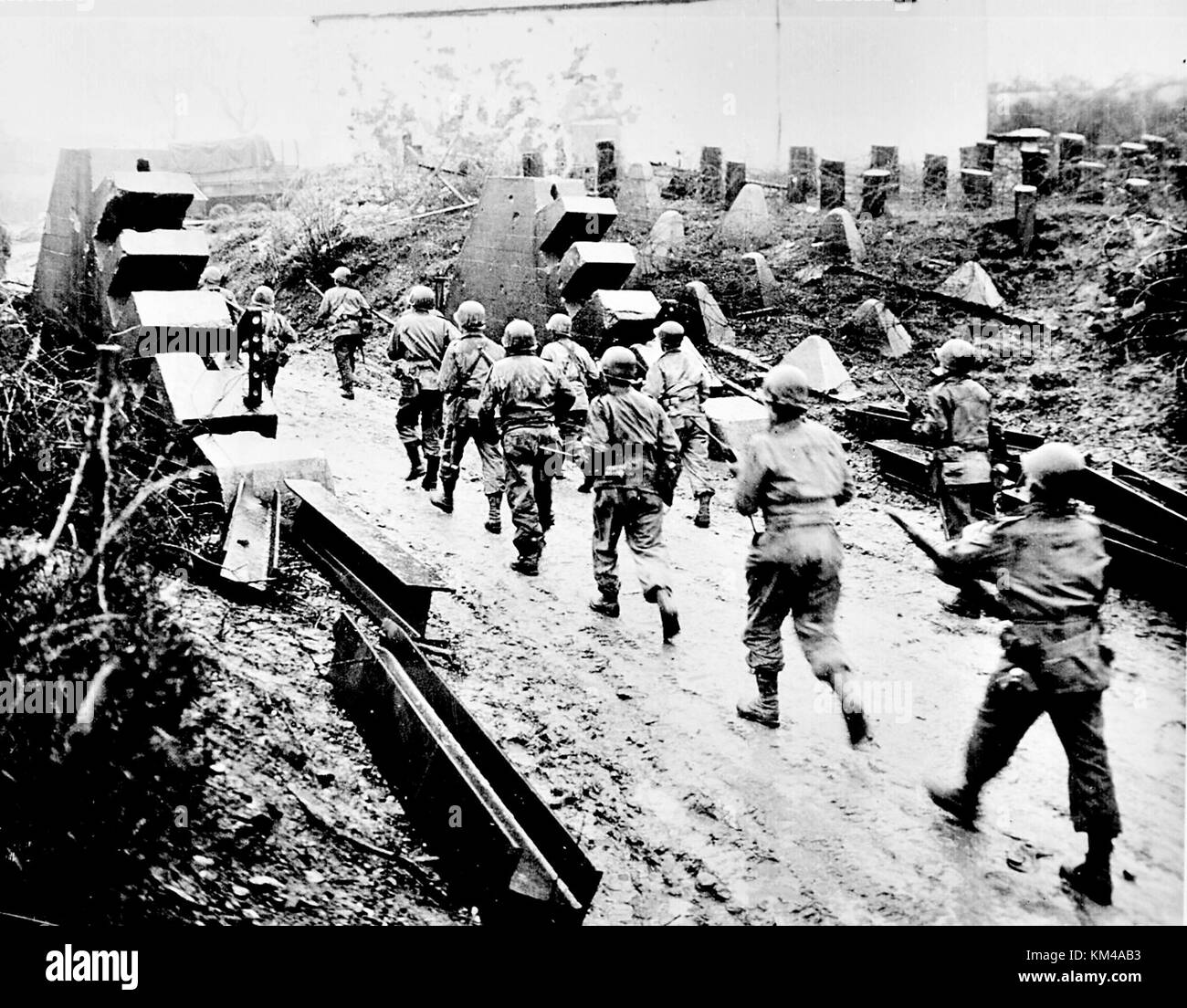 The Siegfried Line, First World War line of defensive forts and tank defences built by Germany in northern France - Stock Image