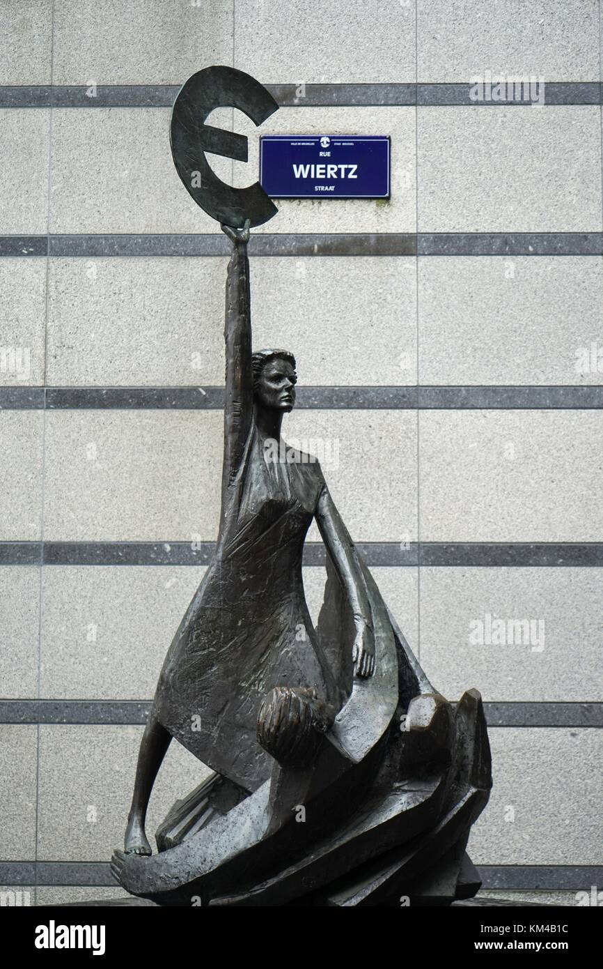 Belgium: The 'Europe' sculpture of Belgian artist May Claerhout outside the European Parliament in Brussels. Photo Stock Photo