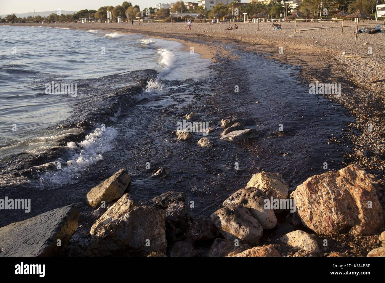 After tanker accident near Athens, oil reaches south beaches of Athens city.Tanker 'Agia Zoni II' sank early - Stock Image