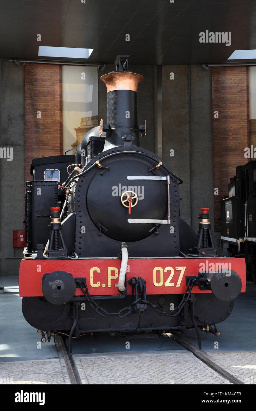 cp 027;steam locomotive;national railway museum;entroncamento;portugal; - Stock Image