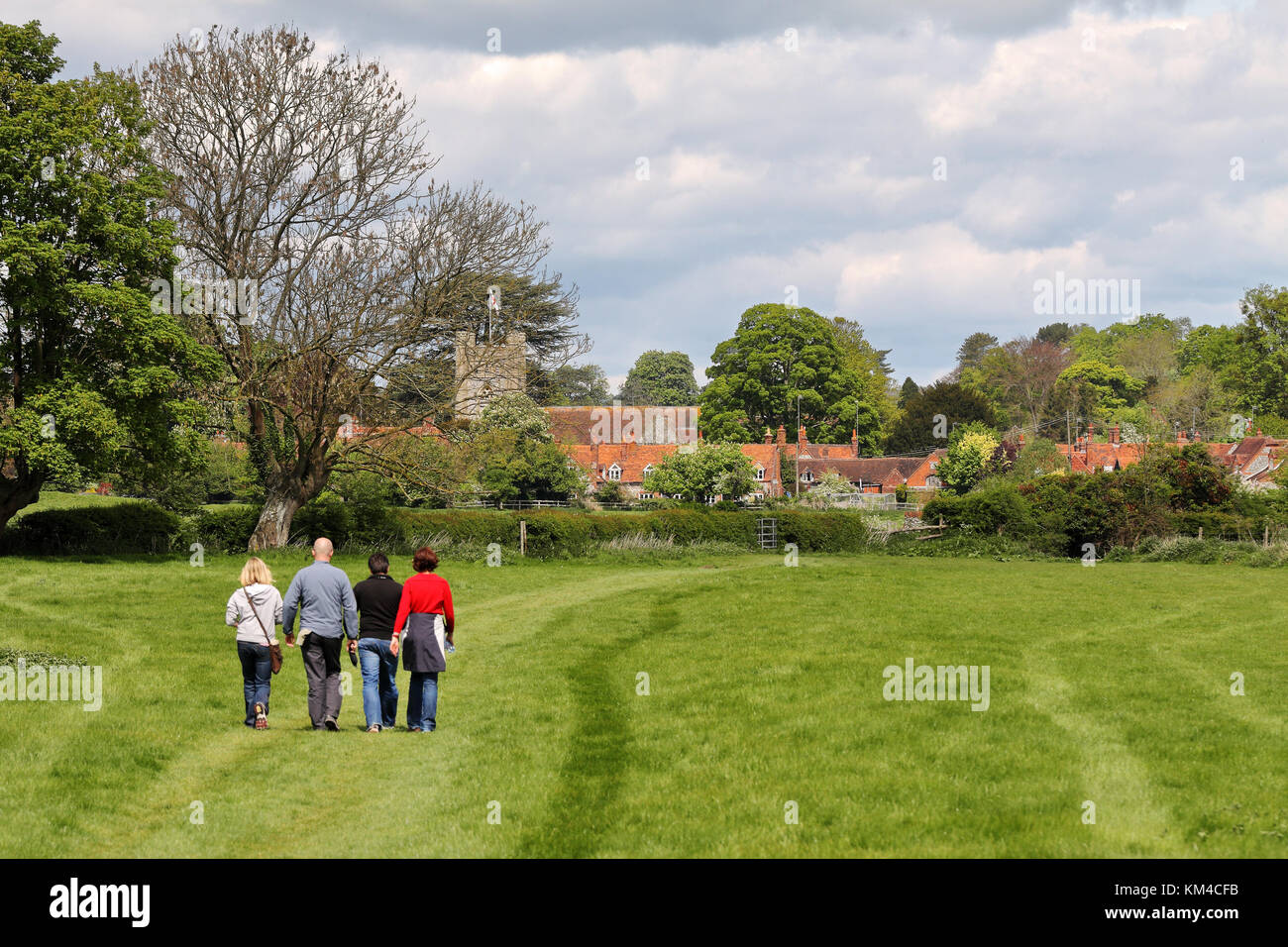 An English Landscape in the Chiltern Hills with the Village of Hambleden - Stock Image